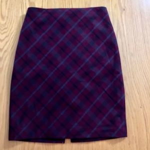 Express Maroon Red Plaid Pencil Skirt sz 2